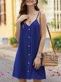 Solid Spaghetti-Strap Casual Mini Dress