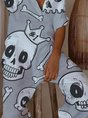 Gray Skull Button Jumpsuit
