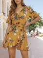 V Neck Yellow Holiday  Mini Dress