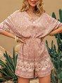 Pink Half Sleeve A-Line Floral Romper
