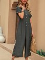 Gray Linen Crew Neck Casual Solid Jumpsuit