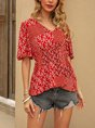 Red Short Sleeve Floral-Print Shift Holiday Top