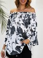 Off Shoulder Bell Sleeve Holiday Floral Top