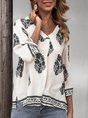 White Floral Boho Cotton-Blend Top