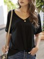 Casual Solid Short Sleeve Shift T-Shirt