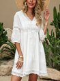 V Neck Off White A-line Boho Mini Dresses
