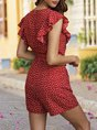 Red Holiday Frill Sleeve Sweet Romper
