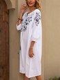 V Neck White A-Line Boho Midi Dress