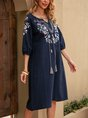 Dark_Blue A-Line Beach Tribal Midi Dress