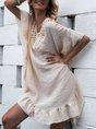 Light Khaki Cutout Boho Shift Mini Dress