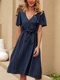 V Neck Grey-Blue  A-Line Beach Mini Dress