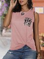 Sleeveless Paneled Knot Front Casual T-Shirt
