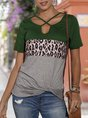 Short Sleeve Leopard Knot Front Paneled Top
