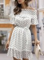 Off Shoulder  Shift Daytime Gathered Polka Dots Mini Dress