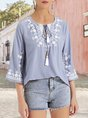 Gray Embroidered Frill Sleeve Holiday Top