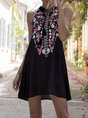 Halter Black Holiday Floral Mini Dress