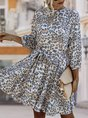 Leopard 3/4 Sleeve Shift Mini Dress