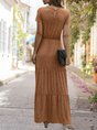 Short Sleeve Shirred Knitted Maxi Dress