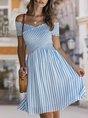Off Shoulder A-Line Date Striped Midi Dress