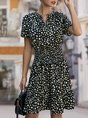Short Sleeve A-Line Leopard Shirred Mini Dress