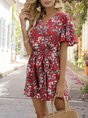 Red V Neck Printed Holiday Rompers