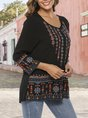 Black Crew Neck Shift Holiday Embroidery Top
