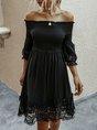 Off Shoulder A-Line Shirred Cocktail Mini Dress