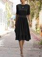 A-Line Date Holiday Paneled Midi Dress