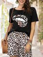 Black Casual Leopard Two-Piece Set
