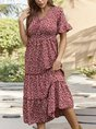 V Neck Holiday Printed Maxi Dress