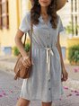 V Neck Daily Drawstring Mini Dress