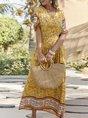 V Neck Floral Boho Slit Maxi Dress