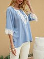 Blue Tribal Paneled Half Sleeve Boho Top