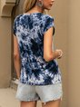 Navy Blue Ombre/Tie-Dye Short Sleeve Top