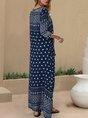 V Neck 3/4 Sleeve Swing Boho Maxi Dress