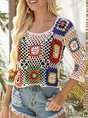 White Holiday Crew Neck Crocheted Floral  Top