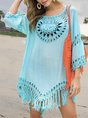 Scoop Neckline Beach Fringed Mini Dress