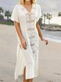 V Neck White  Beach Solid Maxi Dress