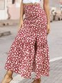 Mermaid Printed Floral Boho Maxi Skirt