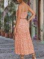 Square Neck Date Floral-Print Maxi Dress