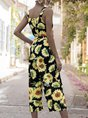 Holiday Sleeveless Floral Square Neck Jumpsuit