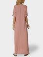 V Neck Pink Swing Paneled Boho Maxi Dress