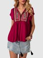 Wine Red V Neck Short Sleeve Top