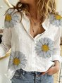 White Long Sleeve Cotton V Neck Printed Top