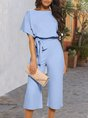 Half Sleeve Solid One-Pieces Jumpsuit