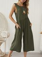 Solid Casual Crew Neck Sleeveless Jumpsuit