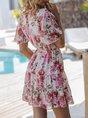 V Neck White  A-Line Holiday Printed Mini Dress