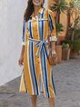 Shirt Collar Stripes Daily Midi Dress