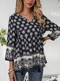 Floral Gathered Fringed Boho Top
