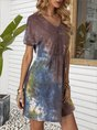 V Neck Khaki A-Line Ombre/tie-Dye Mini Dress